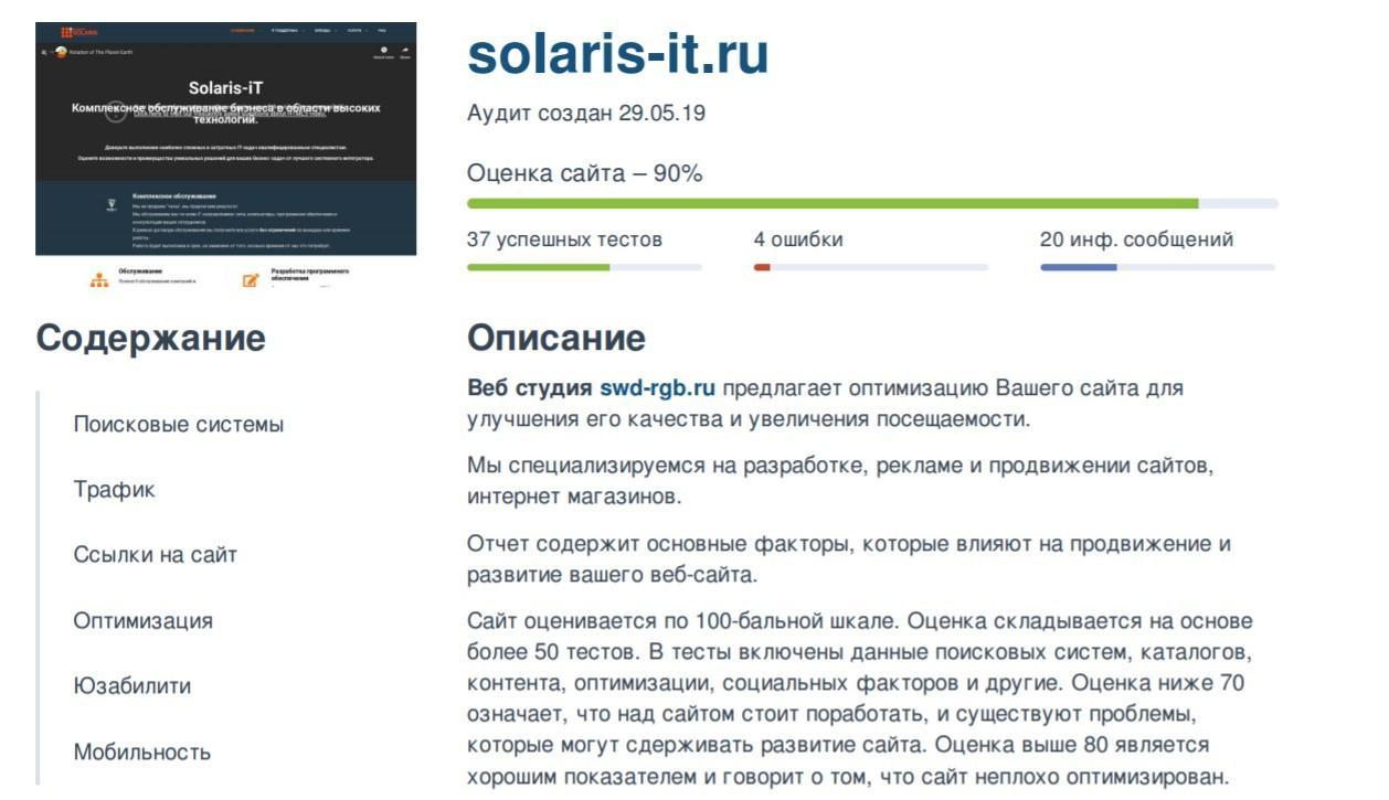 SEO Анализ сайта - Solaris-it.ru